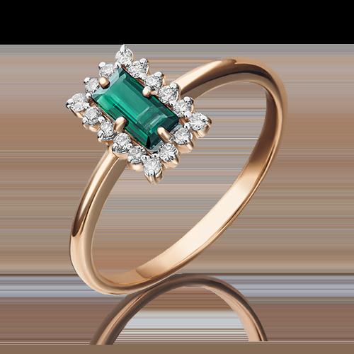 Кольцо из красного золота с изумрудом и бриллиантом 01-1514-00-106-1110-30