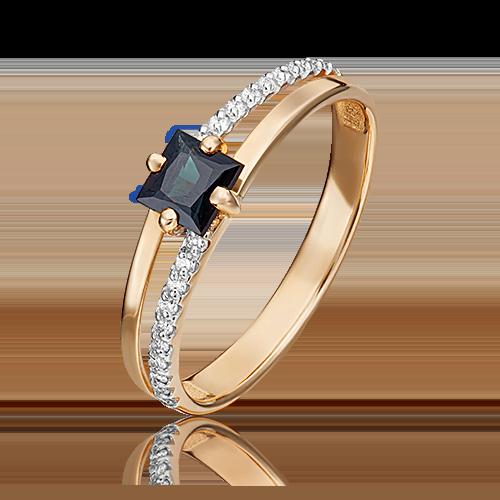 Кольцо из красного золота с сапфиром и бриллиантом 01-1515-00-105-1110-30