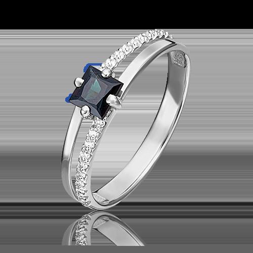 Кольцо из белого золота с сапфиром и бриллиантом 01-1515-00-105-1120-30
