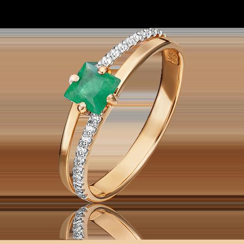 Кольцо из красного золота с изумрудом и бриллиантом 01-1515-00-106-1110-30