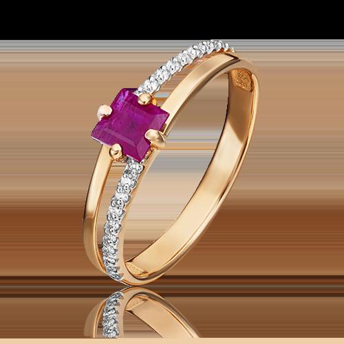 Кольцо из красного золота с рубином и бриллиантом 01-1515-00-107-1110-30
