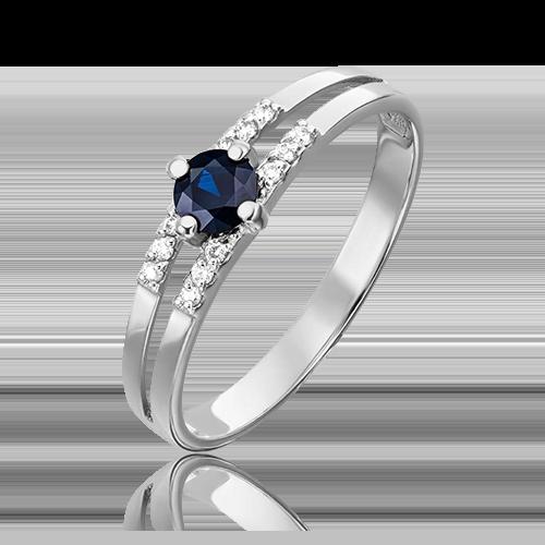 Кольцо из белого золота с сапфиром и бриллиантом 01-1516-00-105-1120-30