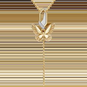Подвеска из лимонного золота с бриллиантом 03-3278-00-101-1121