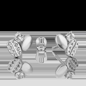Серьги-пусеты из белого золота с топазом white 02-4913-00-201-1120