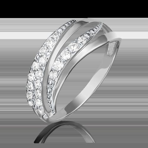 Кольцо из белого золота фианитом 01-3893-00-401-1120-03