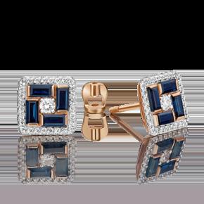 Серьги-пусеты из красного золота с сапфиром и бриллиантом 02-4902-00-105-1110-30