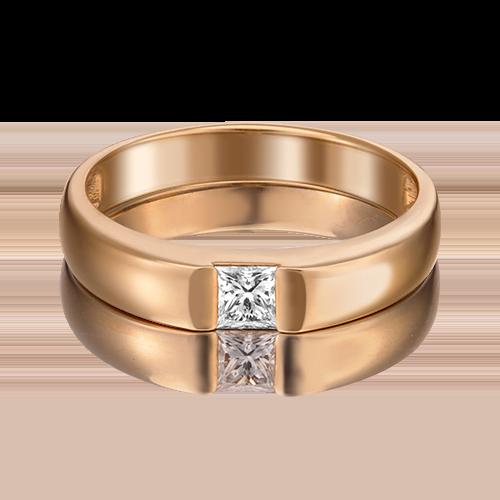 Обручальное кольцо из красного золота с бриллиантом 01-1269-00-101-1110-30