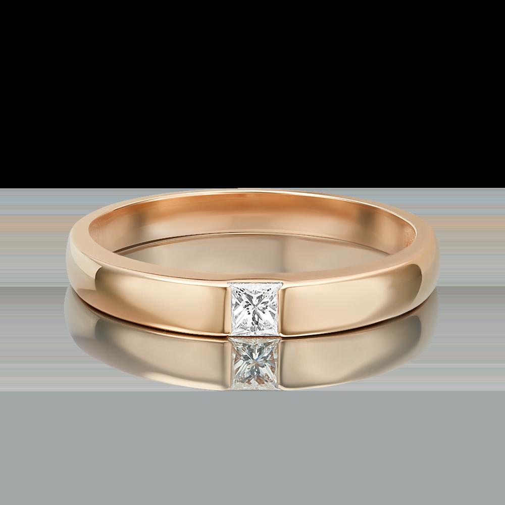 Обручальное кольцо из красного золота с бриллиантом 01-1271-00-101-1110-30