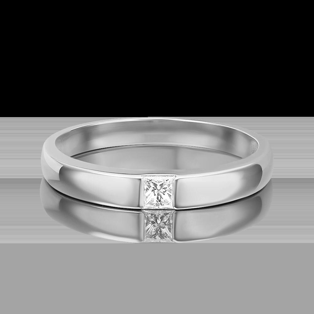 Обручальное кольцо из белого золота с бриллиантом 01-1272-00-101-1120-30