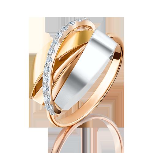 Кольцо из комбинированного золота с фианитом 01-5092-00-401-1140-03
