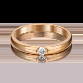 Обручальное кольцо из красного золота с бриллиантом 01-0813-00-101-1110-30