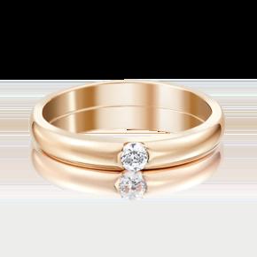 Обручальное кольцо из красного золота с фианитом 01-3149-00-401-1110-03