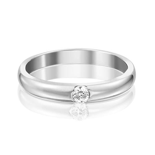 Обручальное кольцо из белого золота с фианитом 01-3150-00-401-1120-03
