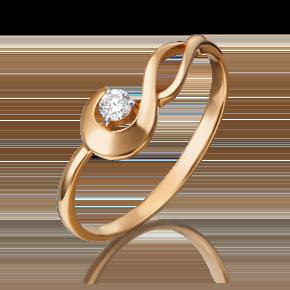 Кольцо из красного золота с бриллиантом 01-0817-00-101-1110-30