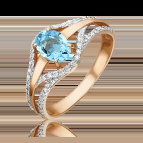 Кольцо из красного золота с топазом и бриллиантом 01-1323-00-113-1110-30