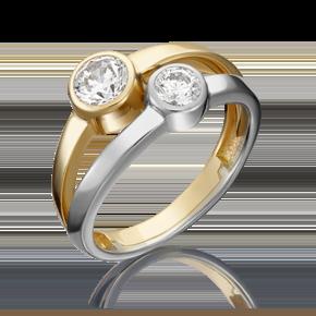 Кольцо из лимонного золота с фианитом огр.SW 01-5339-00-501-1121-38