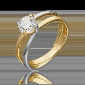 Помолвочное кольцо из лимонного золота с фианитом огр.SW 01-5438-00-501-1121-38