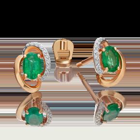 Серьги-пусеты из красного золота с изумрудом и бриллиантом 02-0972-00-106-1110-30