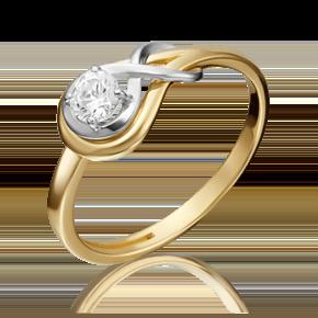 Кольцо из лимонного золота с фианитом огр.SW 01-5343-00-501-1121-38