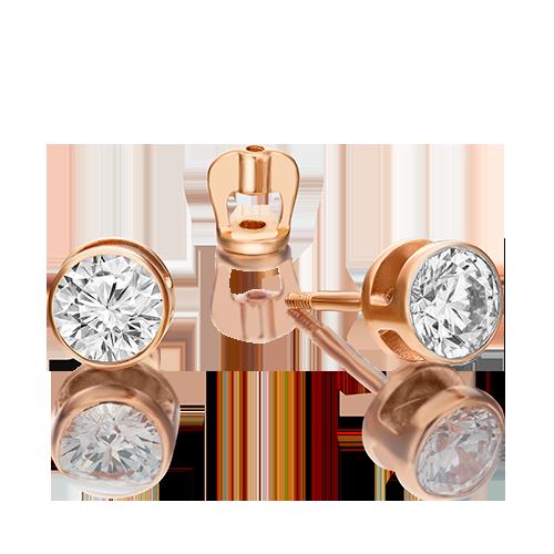Серьги-пусеты из красного золота бриллиантом 02-0295-00-101-1110-30