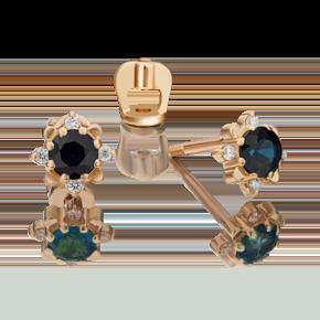 Серьги-пусеты из красного золота с сапфиром и бриллиантом 02-0297-00-105-1110-30