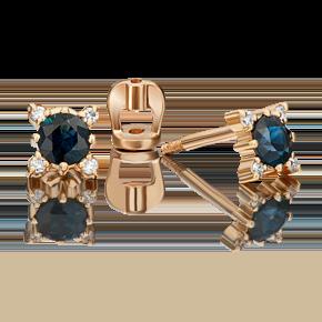 Серьги-пусеты из красного золота с сапфиром и бриллиантом 02-0299-00-105-1110-30