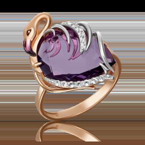 Кольцо из красного золота с аметистом, топазом white и эмалью 01-5287-00-225-1110-46