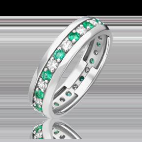 Кольцо из белого золота с бриллиантом и изумрудом 01-1091-00-106-1120-30