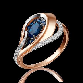 Кольцо из красного золота с сапфиром и бриллиантом 01-5150-00-105-1110-30