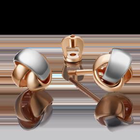 Серьги-пусеты из комбинированного золота 02-4329-00-000-1111-48