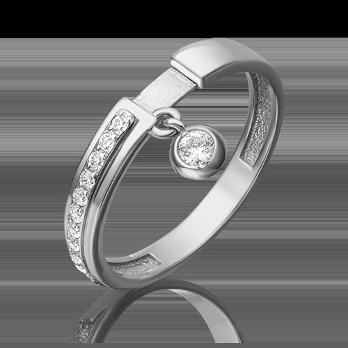 Кольцо из белого золота с фианитом 01-5285-00-401-1120-48