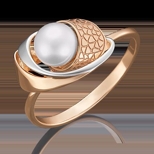 Кольцо из красного золота жемчугом культивированным 01-5060-00-301-1110-48