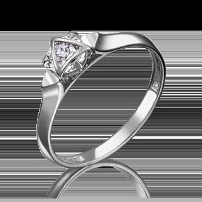 Кольцо из белого золота с фианитом огр.SW 01-5104-00-501-1120-38