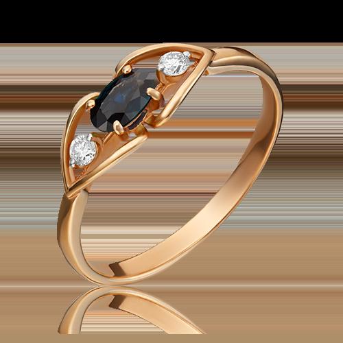 Кольцо из красного золота с сапфиром и бриллиантом 01-1445-00-105-1110-30