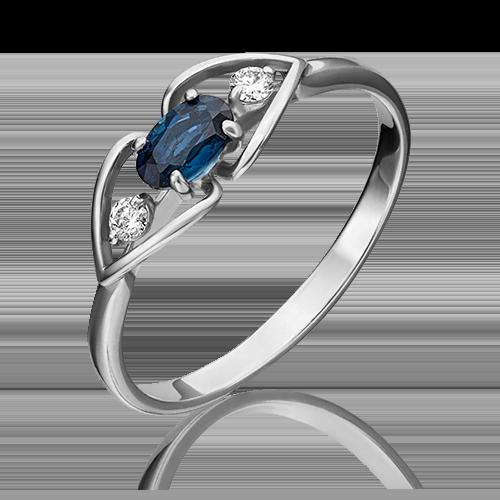 Кольцо из белого золота с сапфиром и бриллиантом 01-1446-00-105-1120-30
