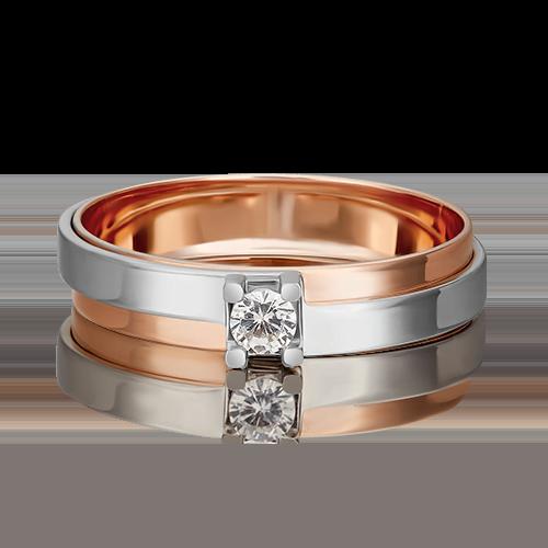 Помолвочное кольцо из комбинированного золота с фианитом 01-5443-00-401-1111-03