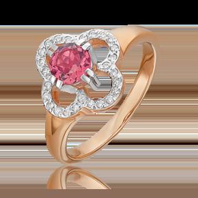 Кольцо из красного золота с турмалином и бриллиантом 01-0187-00-116-1110-30