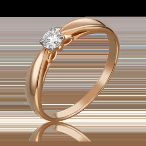 Помолвочное кольцо из красного золота с бриллиантом 01-1594-00-101-1110-30