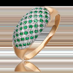 Кольцо из красного золота с бриллиантом и изумрудом 01-5508-00-106-1110-30