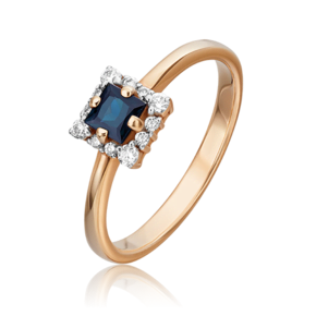 Кольцо из красного золота с сапфиром и бриллиантом 01-5545-00-105-1110-30