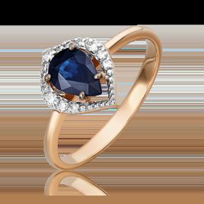 Кольцо из красного золота с сапфиром и бриллиантом 01-5536-00-105-1110-30
