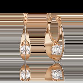 Серьги с турецким замком из комбинированного золота с фианитом огр.SW 02-4600-00-501-1111-38