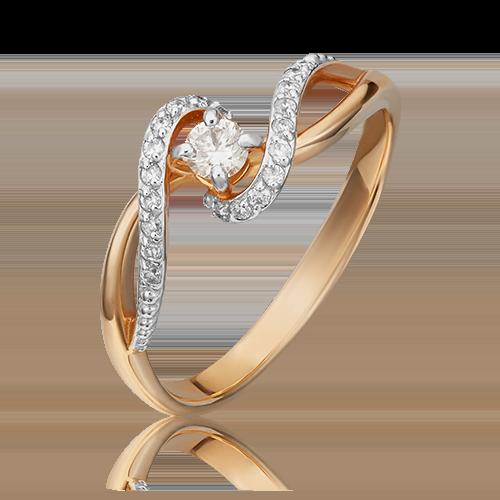 Кольцо из красного золота с бриллиантом 01-1525-00-101-1110-30