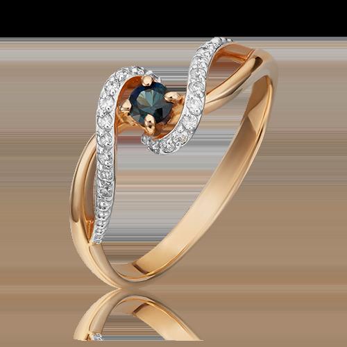 Кольцо из красного золота с сапфиром и бриллиантом 01-1525-00-105-1110-30