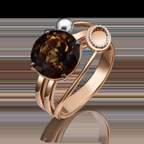 Кольцо из красного золота с кварцем дымчатым 01-5253-00-202-1110-46