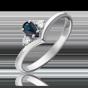 Кольцо из белого золота с сапфиром и бриллиантом 01-0500-00-105-1120-30