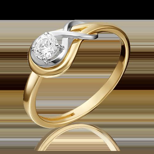 Помолвочное кольцо из комбинированного золота бриллиантом 01-5343-00-101-1121-30