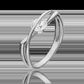 Кольцо из белого золота с фианитом огр.SW 01-5395-00-501-1120-38