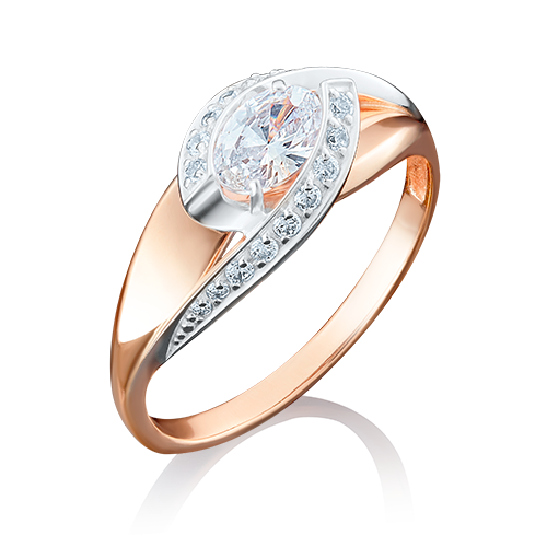 Кольцо из комбинированного золота фианитом огр.SW 01-4937-00-501-1111-38