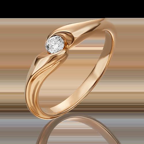 Помолвочное кольцо из красного золота бриллиантом 01-4938-00-101-1110-30
